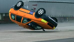 Orange Truck flipping over